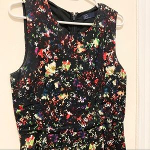 Gap Black with Multicolors Fit and Flare Dress